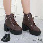 厚底短靴 側扣帶綁帶厚底短靴 MA女鞋 T2259