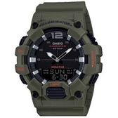 CASIO 電力十足電話備忘錄雙顯錶-軍綠(HDC-700-3A2)