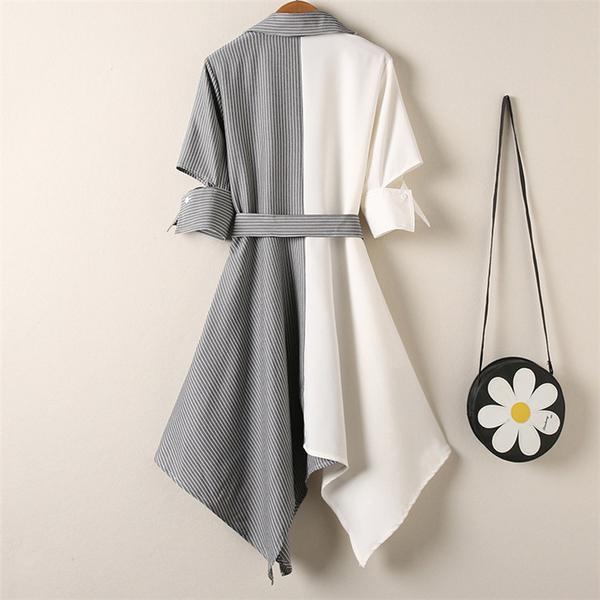大碼洋裝 大碼遮肚洋裝胖mm減齡女裝網紅裙子OL氣質洋氣顯瘦不規則襯衫裙-a8