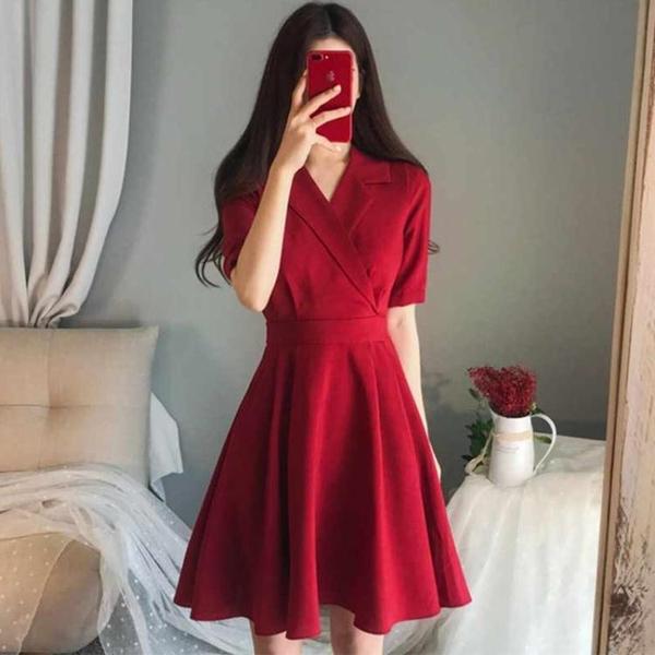雪紡洋裝 微胖女生穿搭大碼胖mm紅色小個子洋裝子新款夏顯瘦遮肉 雙十二全館免運