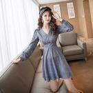 出清388 韓國風名媛收腰亮片修身顯瘦收腰性感氣質長袖洋裝