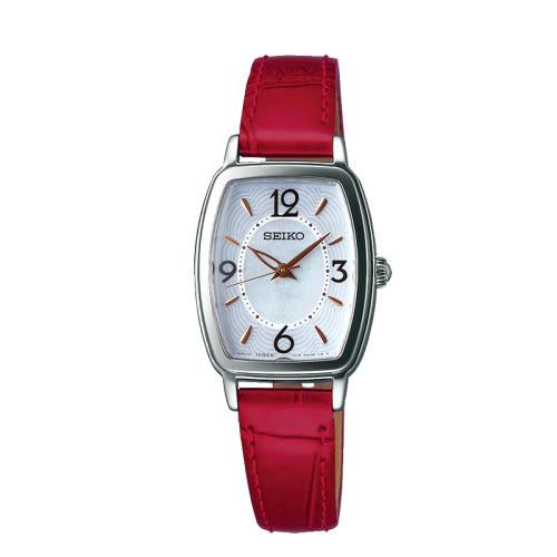 SEIKO VIVACE 優雅漫步太陽能時尚腕錶/紅/V117-0DA0R