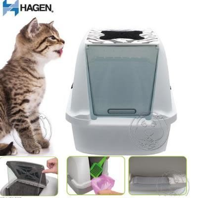 【zoo寵物商城】赫根HAGEN 》掀蓋式屋型貓便盆中型白虎紋50703