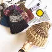 針織毛帽-潮流混色保暖加厚女毛線帽5色73ie40[時尚巴黎]