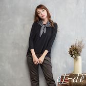 【ef-de】激安 長短版純棉長袖上衣-附水玉圍巾(黑)