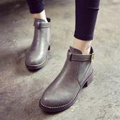 靴子 短靴女春秋新款百搭粗跟中跟馬丁靴裸靴圓頭百搭短靴女靴子 酷我衣櫥