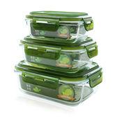 四隻裝玻璃飯盒微波爐可用保鮮盒玻璃碗帶蓋冰箱長方形飯盒便當盒      Chic七色堇