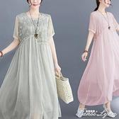 大碼女裝200斤胖mm雪紡洋裝遮腹洋氣減齡顯瘦裙子2021媽媽夏裝 范思蓮恩