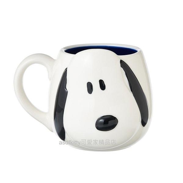 asdfkitty*SNOOPY史努比大臉造型藍色陶瓷馬克杯/筆筒/花器/擺飾品-300ML-日本正版商品