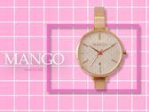 【時間道】MANGO簡約立體格文錶盤腕錶 / 白面粉刻玫瑰金板帶 (MA6721L-80R)免運費