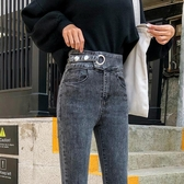 煙灰色高腰牛仔褲女修身小個子九分2020新款顯瘦秋裝緊身小腳褲子-米蘭街頭