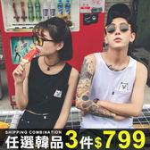 任選3件799背心潮牌情侶裝背心貓咪印花圖案口袋無袖T恤【08B-A0008】
