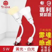 【TOYAMA特亞馬】LED雷達感應燈5W 彎管式插頭型