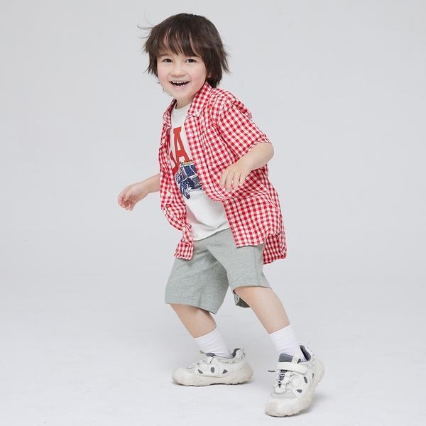 Gap男幼童 布萊納系列 純棉簡約風運動褲 671575-淺灰色
