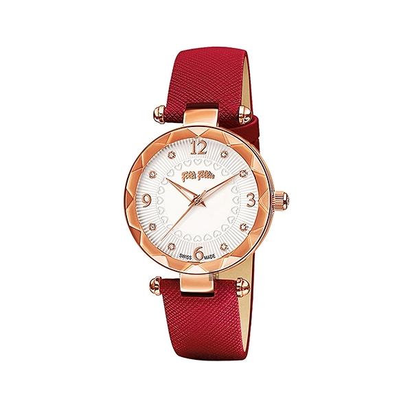 【Folli Follie】CLASSY ELEMENT愛琴海晶鑽時尚腕錶-霧感紅/WF14R023SSS_RE/台灣總代理公司貨享兩年保固