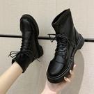 帥氣英倫風馬丁靴女秋冬2020新款厚底短靴軟皮繫帶彈力瘦瘦靴 童趣屋