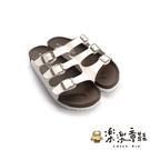 【樂樂童鞋】台灣製三帶三釦親子拖鞋-白 C031 - 台灣製 現貨 女鞋 女拖鞋 大童鞋 大童拖鞋 沙灘鞋