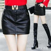 大碼修身皮裙 新款半身裙顯瘦皮短裙包臀裙百搭pu小皮裙 QQ10215『MG大尺碼』