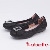 itabella.時尚曲線方頭娃娃鞋(9577-91黑色)