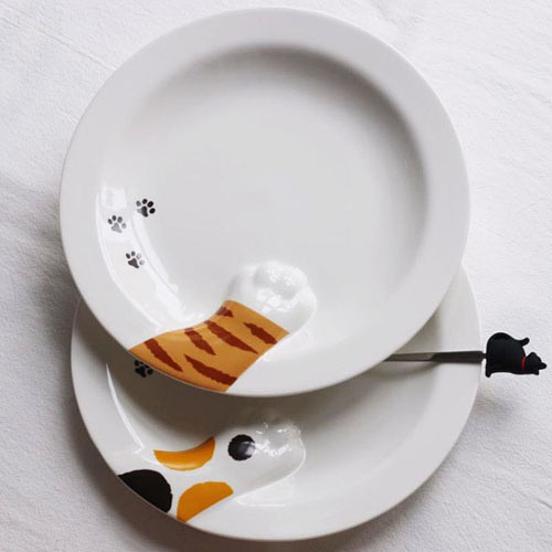 日本出口陶瓷可愛立體貓爪肉墊圓盤
