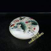 古玩 景德鎮陶瓷器墨盒 粉彩花鳥印泥盒 文房用品