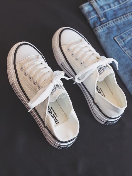 半拖鞋 半拖帆布鞋女夏2021年新款薄款百搭一腳蹬小白鞋街拍板鞋ins潮鞋 小天使