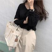 帆布袋韓國ins超火大容量休閒帆布包多口袋實用斜背手提斜背包女士大包 喵小姐