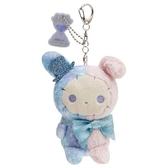 〔小禮堂〕憂傷馬戲團 絨毛玩偶娃娃吊飾《藍緞帶》掛飾.鑰匙圈 4974413-75866