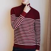 針織毛衣-高領秋冬條紋長袖純棉男針織衫4色73pg66【巴黎精品】