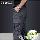 吉普工裝褲男寬鬆直筒春夏薄款大碼戶外多口袋純棉休閒褲 可然精品