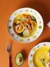 西餐盤 藍蓮花家居盤子可愛少女心陶瓷淺盤西餐餐盤ins風餐盤菜盤平盤【快速出貨八折鉅惠】