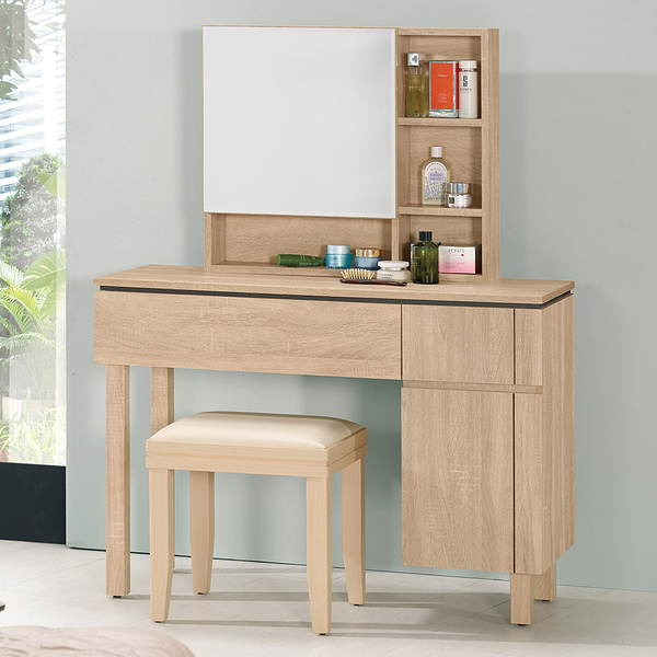 【森可家居】米拉斯3.5尺化妝台(全組)(含椅) 8CM679-1 梳妝台 化妝桌