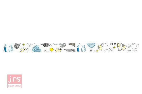 日本倉敷意匠和紙膠帶-動物夥伴(藍15mm)