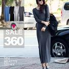 SISI【D4199】韓版磨毛純色素面長袖拖地長裙洋裝修身顯瘦連身裙超長板T