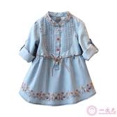洋裝 寶寶牛仔連身裙 2020春裝新款女童童裝兒童繡花兩用袖裙子qz-3286