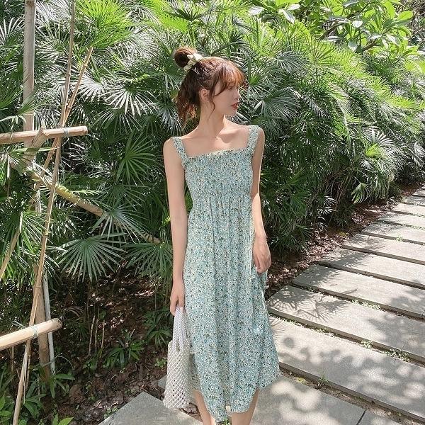 棉麻碎花吊帶收腰洋裝 ( 黑 白 淺綠) 12150098