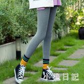 打底褲女外穿 早秋新款純棉高腰胖MM大碼小腳緊身褲 灰色薄款褲子 qf6380【小美日記】