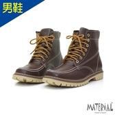 男靴 U型縫線綁帶中筒靴 咖啡 MA女鞋 T29110男