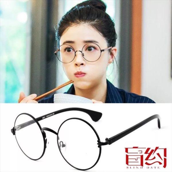 🔥現貨 熱銷款🔥韓版男女圓形克羅心半金屬眼鏡框復古圓形眼鏡架金絲鏡裝飾平光鏡配眼鏡16
