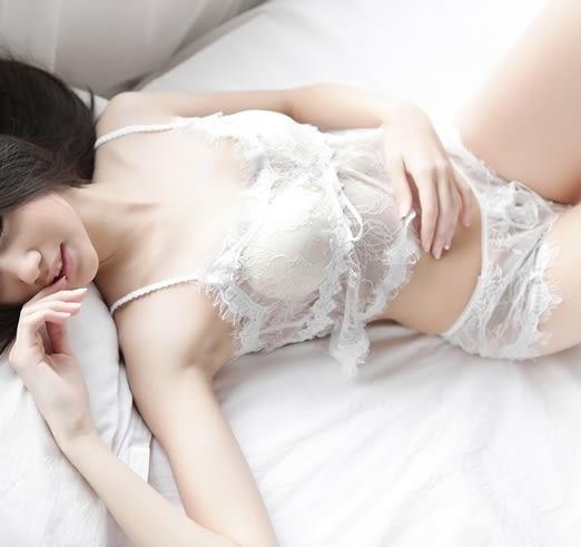 性感睡衣幻仙女睫毛蕾絲V領吊帶性感睡衣內衣兩件套裝-111900572