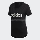 adidas T 恤Essentials Linear T Shirt 女款 短袖短T 上衣黑白黑白【PUMP306 】DP2361