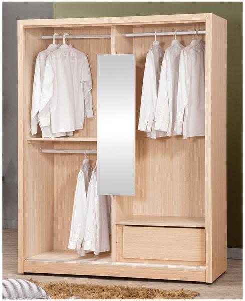 【森可家居】里約白橡5尺推門衣櫃 7ZX117-7 衣櫃 木紋質感 左右拉門