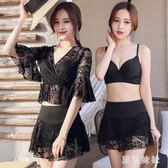中大尺碼 泳衣女2019新款性感比基尼三件套時尚溫泉款黑色罩衫泳裝 aj12070『黑色妹妹』