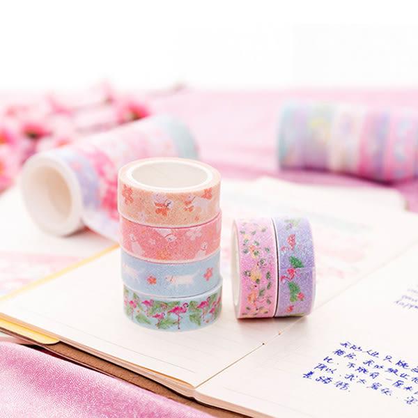 【BlueCat】粉金櫻花獨角獸紅鶴手帳裝飾盒裝紙膠帶 (6入)