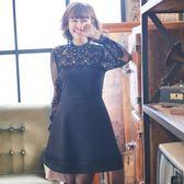 禮服 大碼連身裙新款 春裝 長袖顯瘦遮肚子洋裝性感蕾絲鏤空夜店裙igo coco衣巷