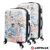 AIRWALK LUGGAGE - 精彩歷程 環郵世界行李箱20+24吋二箱組- 各地米白