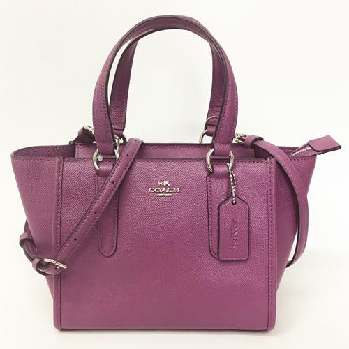 【COACH】立體金屬馬車皮革手提斜背包兩用包/蝙蝠包(紫)