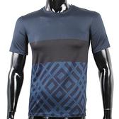 BURBERRY拼接紋路棉質T恤(深藍色)082040-2