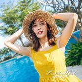 遮陽帽 沙灘帽海邊度假草帽出遊遮陽帽大沿帽子女夏可摺疊防曬太陽帽 果果輕時尚