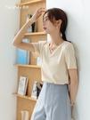 V領T恤短袖t恤女2020新款春夏V領純棉純色韓版寬鬆顯瘦百搭打底體恤上衣 貝芙莉